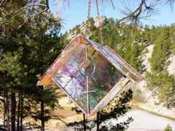 Iridescent Clear Water Glass Wren Stained Glass Bird House